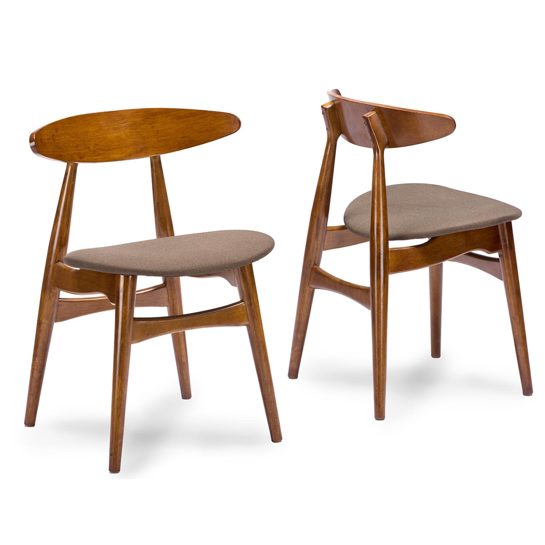 Baxton Studio Flamingo Mid Century Dark Walnut Wood Grey Faux Leather  Dining Chair   IERT326 ...