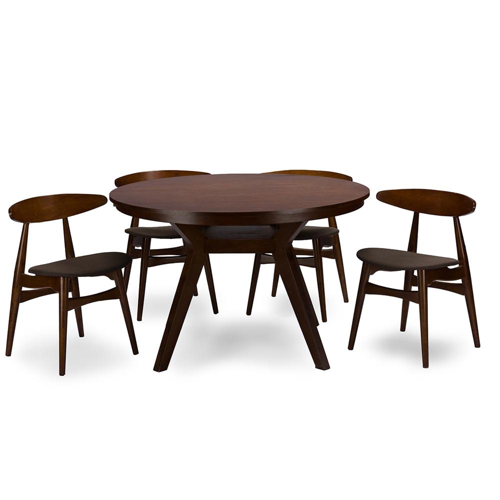 Baxton Studio Flamingo Mid-Century Dark Walnut Wood 5-Piece Dining Set
