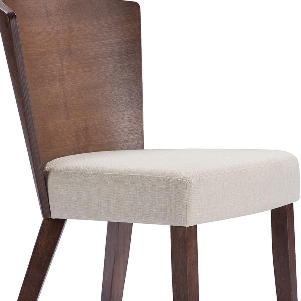 Baxton Studio Sparrow Brown Wood And Khaki Fabric Modern