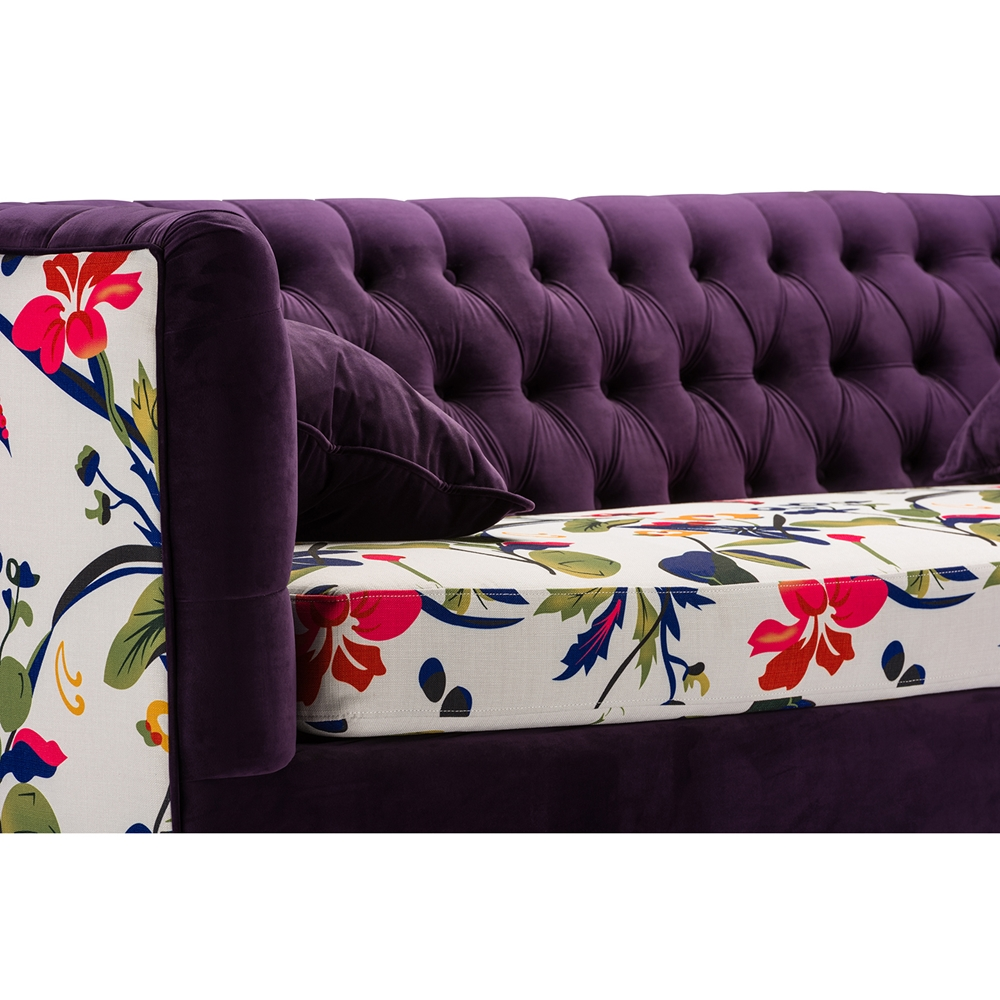 Baxton Studio Freya Purple Velvet And Beige Linen Floral Sofa -  IETSF-8127-SF