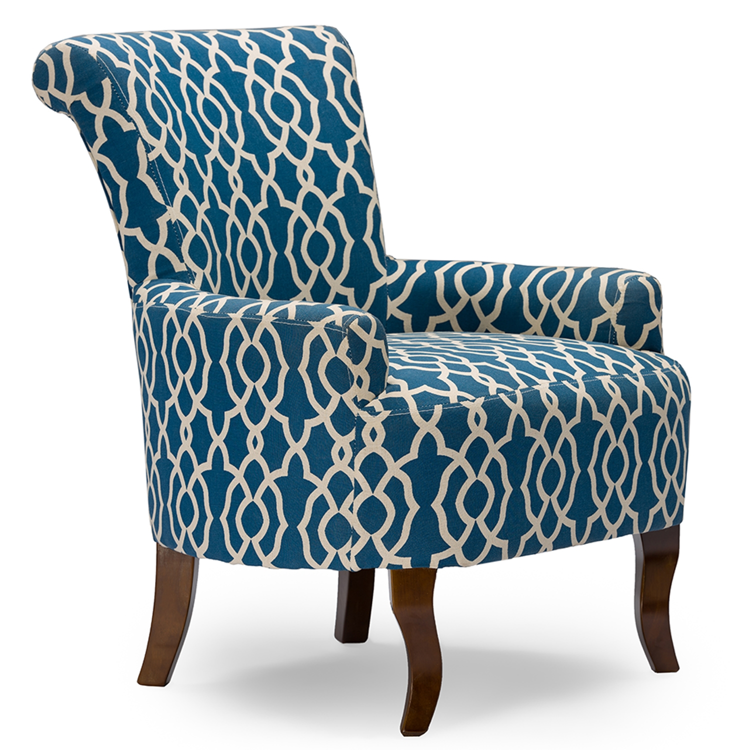 ... Baxton Studio Dixie Contemporary Fabric Armchair   Navy Blue Patterned  Fabric   IEDO 6287 ...