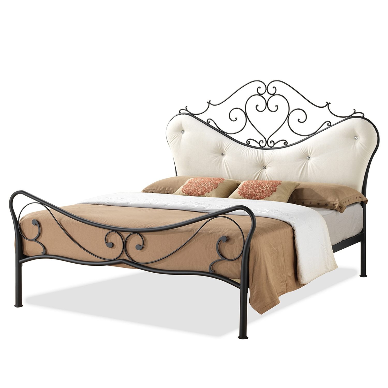Baxton Studio Alanna Queen Size Shabby Chic Metal Platform Bed With Beige  Tufted Headboard   IELEN3101 ...