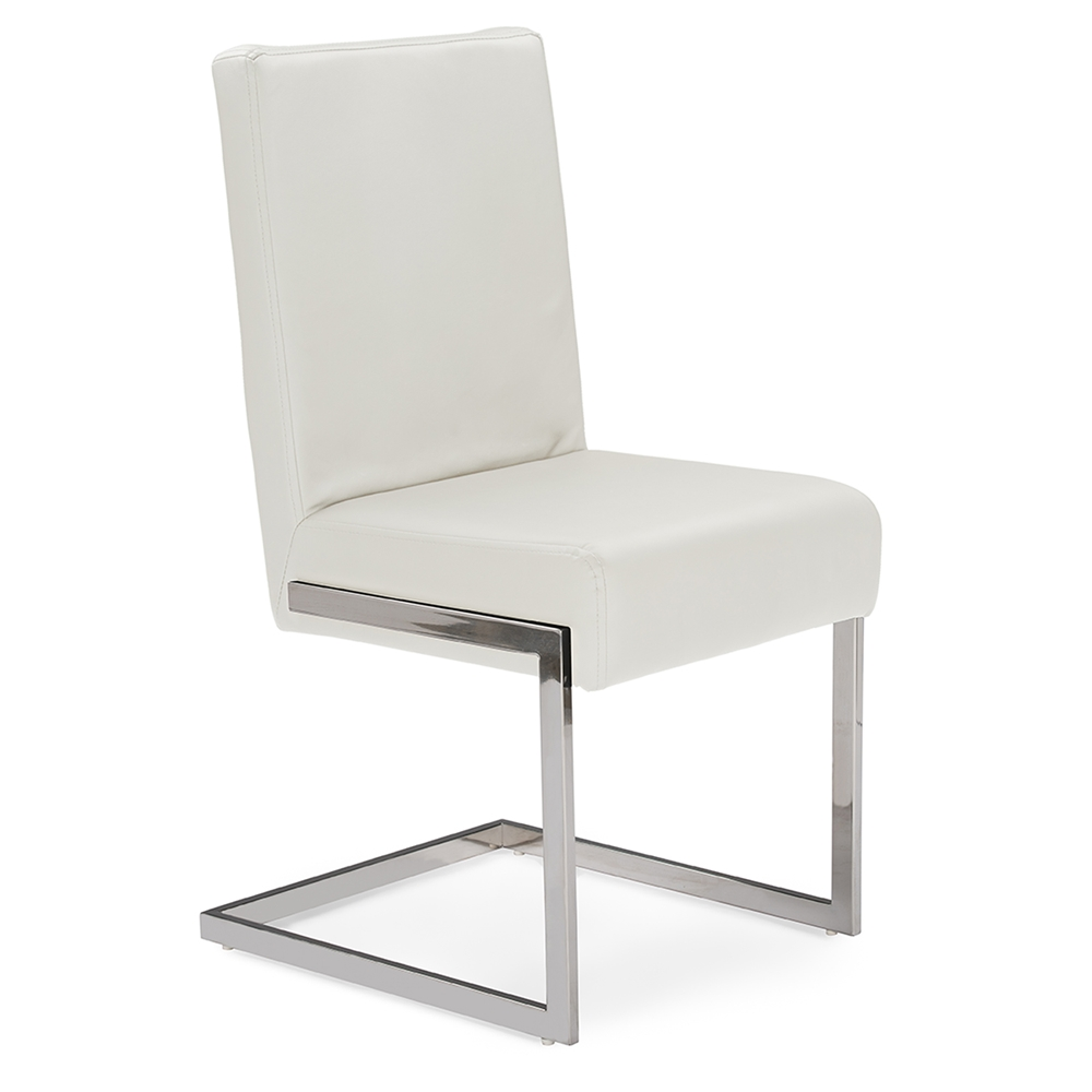 Baxton studio toulan modern and contemporary white faux leather upholstered stainless steel dining chair set