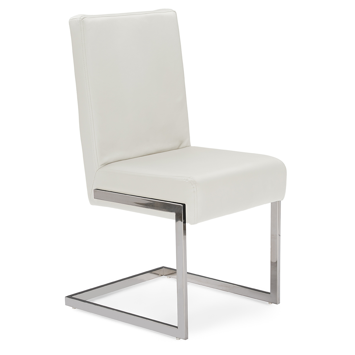 Attrayant Baxton Studio Toulan Modern And Contemporary White Faux Leather Upholstered  Stainless Steel Dining Chair (Set ...