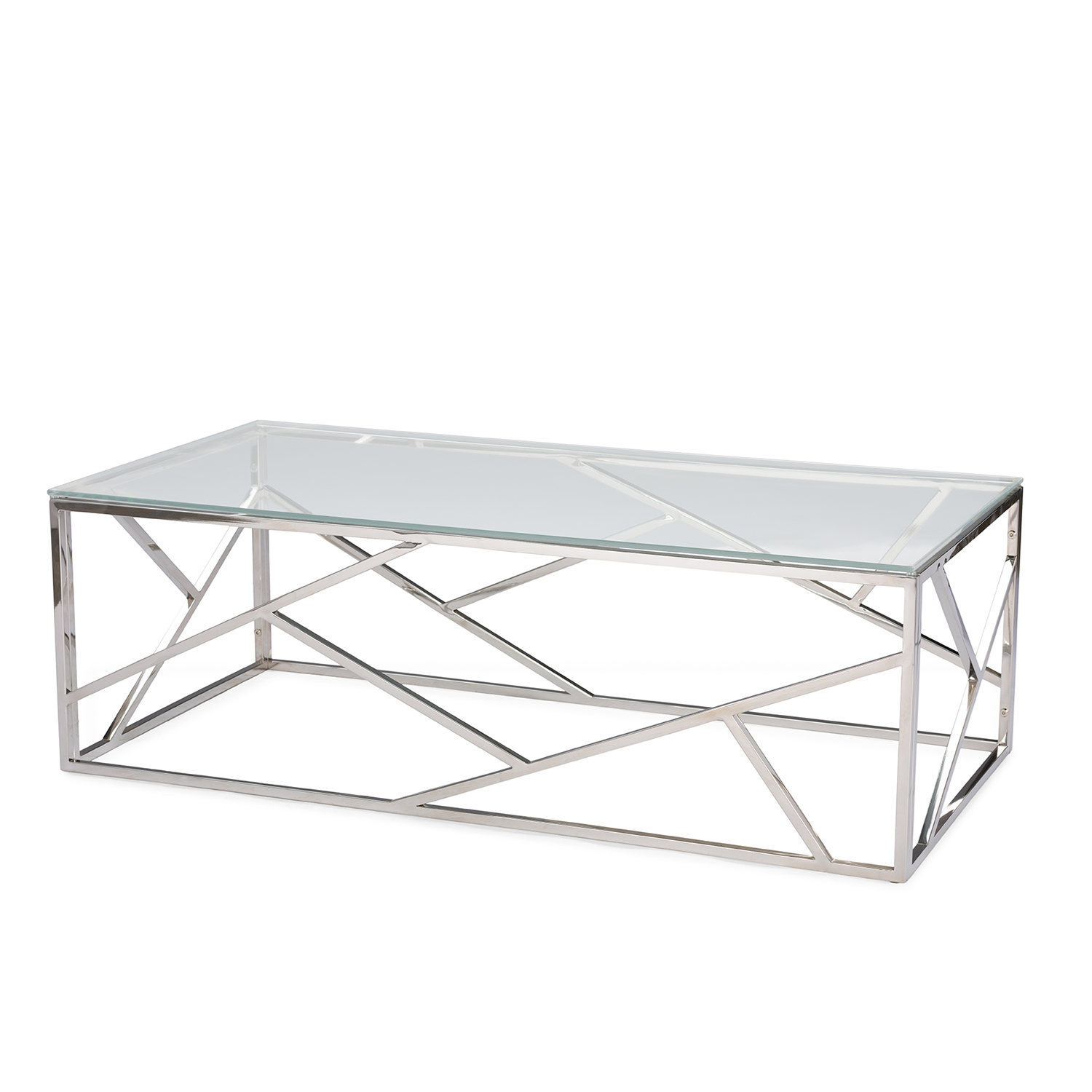 ... Baxton Studio Fiona Modern And Contemporary Stainless Steel Coffee Table  With Tempered Glass Top   IEGY ...
