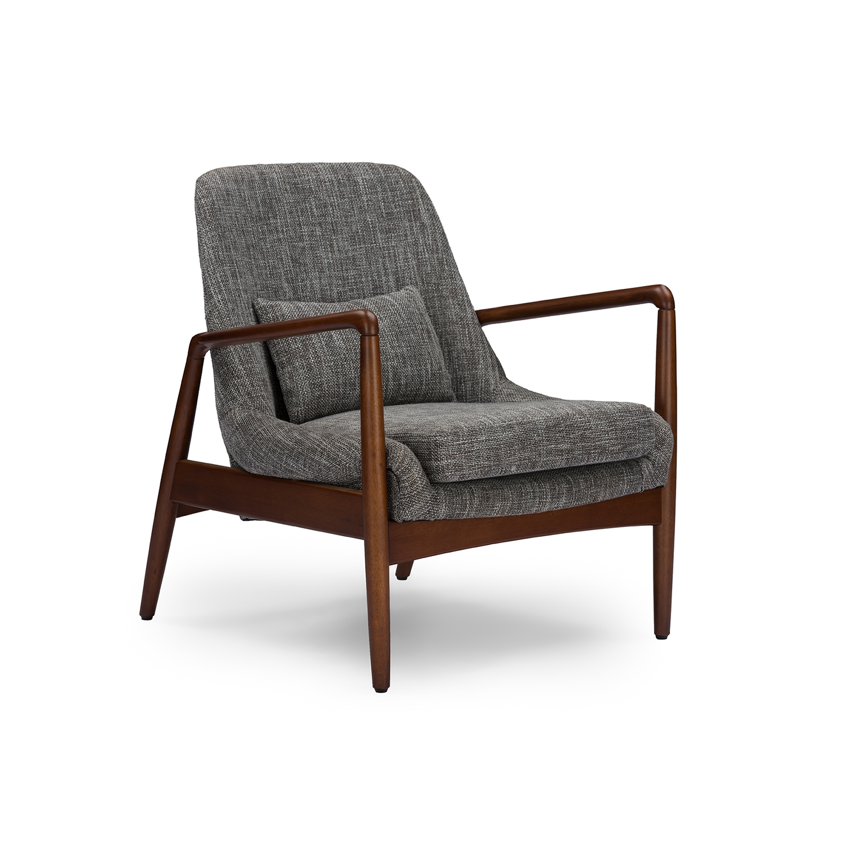 Baxton Studio Carter Mid Century Modern Retro Grey Fabric Upholstered  Leisure Accent Chair In Walnut ...