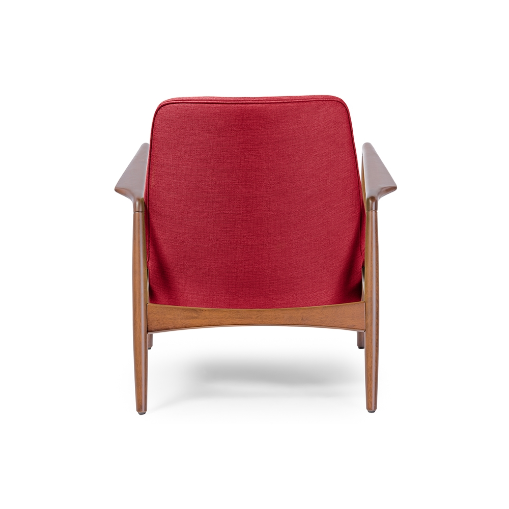 Room accent chairs with ottomans red accent chair with ottoman - Baxton Studio Carter Mid Century Modern Retro Red Fabric
