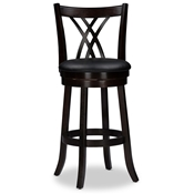 "Baxton Studio Bloomfield Dark Cappucino 29"" Swivel Bar Stool with Upholstered Seat (Set of 2)  Baxton Studio Bloomfield Dark Cappucino 29"" Swivel Bar Stool with Upholstered Seat (Set of 2) , wholesale furniture, restaurant furniture, hotel furniture, commercial furniture"