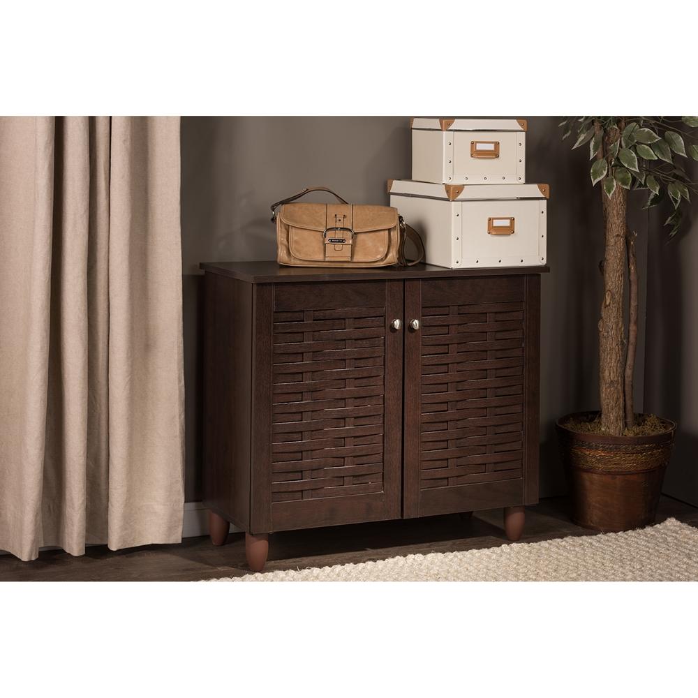 00aeb5c217f ... Baxton Studio Winda Modern and Contemporary 2-Door Dark Brown Wooden  Entryway Shoes Storage Cabinet ...