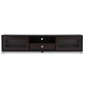 Baxton Studio Beasley 70-Inch Dark Brown TV Cabinet with 2 Sliding Doors and Drawer Baxton Studio Beasley 70-Inch Dark Brown TV Cabinet with 2 Sliding Doors and Drawer, wholesale furniture, restaurant furniture, hotel furniture, commercial furniture