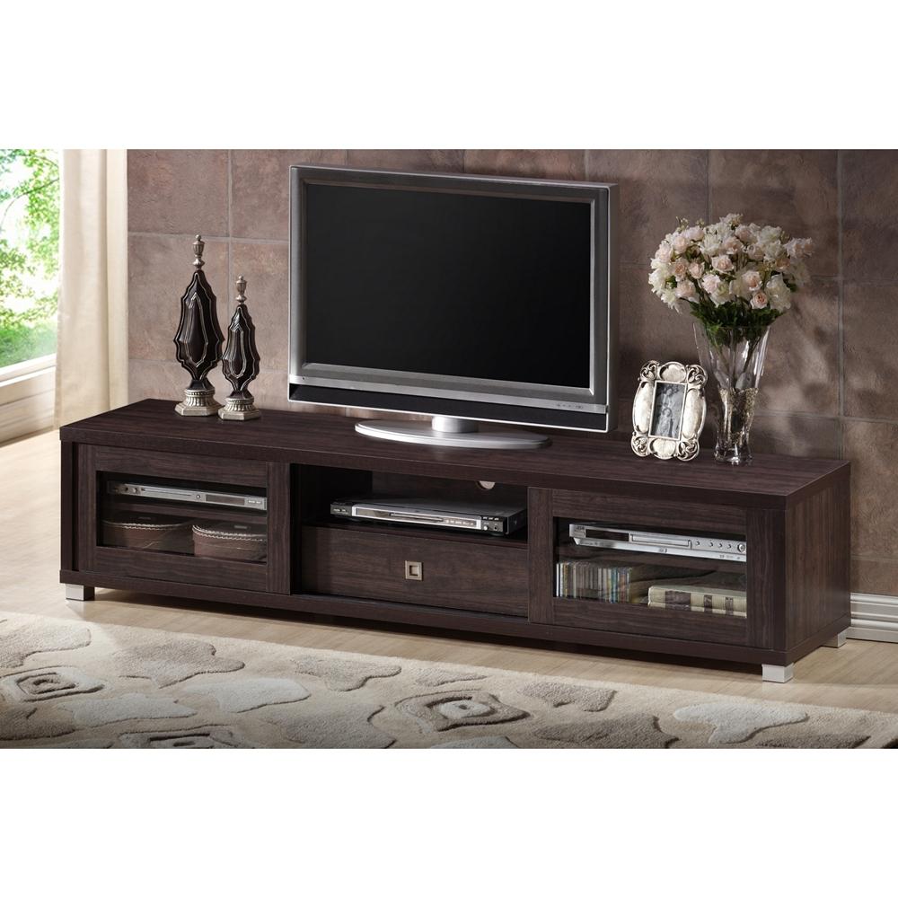 Baxton studio beasley 70 inch dark brown tv cabinet with 2 for 70 inch sliding glass door