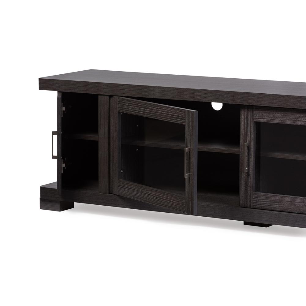 Baxton Studio Viveka 70 Inch Dark Brown Wood Tv Cabinet With 2 Glass