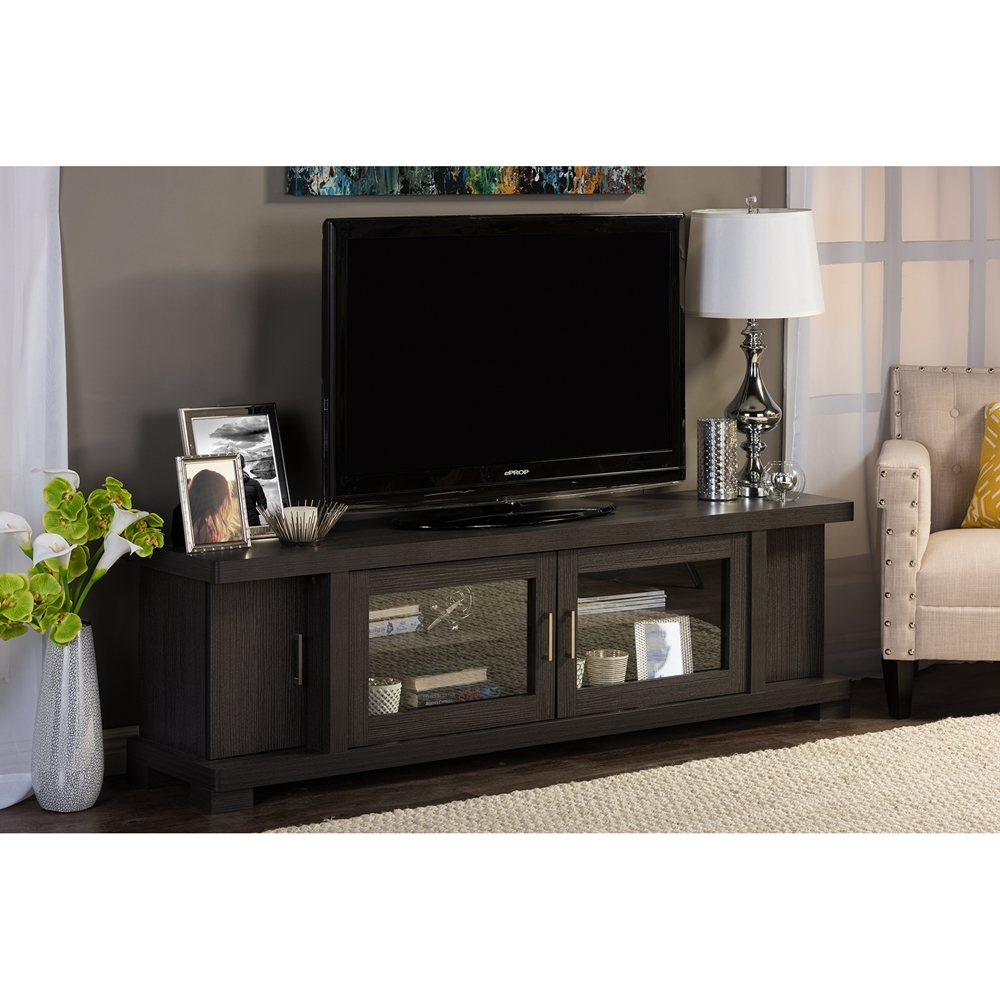 Baxton Studio Viveka 70 Inch Dark Brown Wood Tv Cabinet With 2 Glass