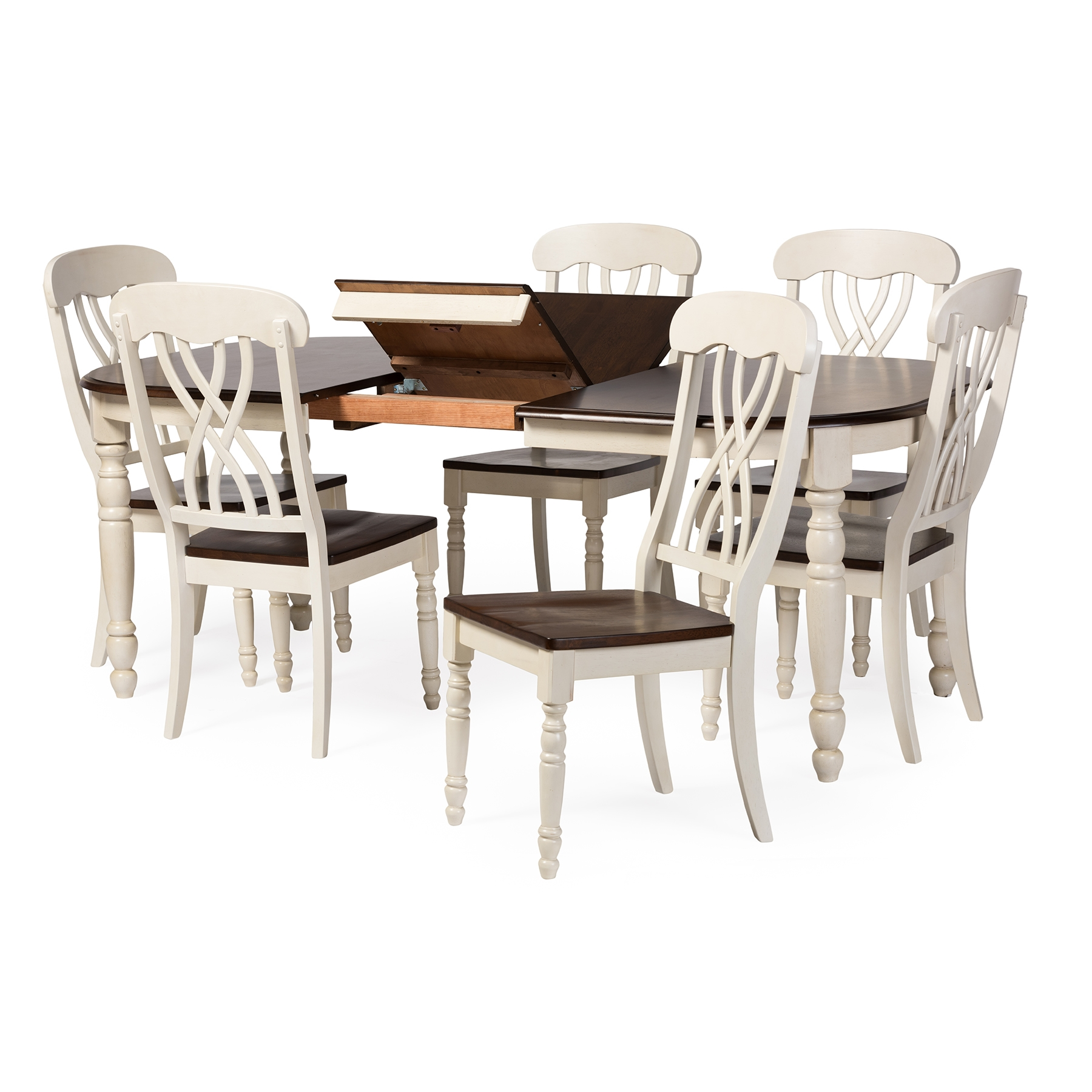 ... Baxton Studio Newman Chic Country Cottage Antique Oak Wood And  Distressed White 7 Piece Dining ...
