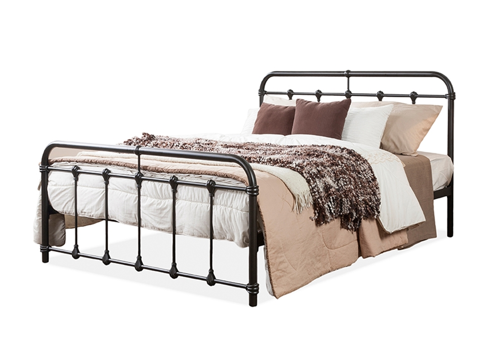 baxton studio mandy chic vintage antique dark bronze queen size iron metal platform bed. Black Bedroom Furniture Sets. Home Design Ideas