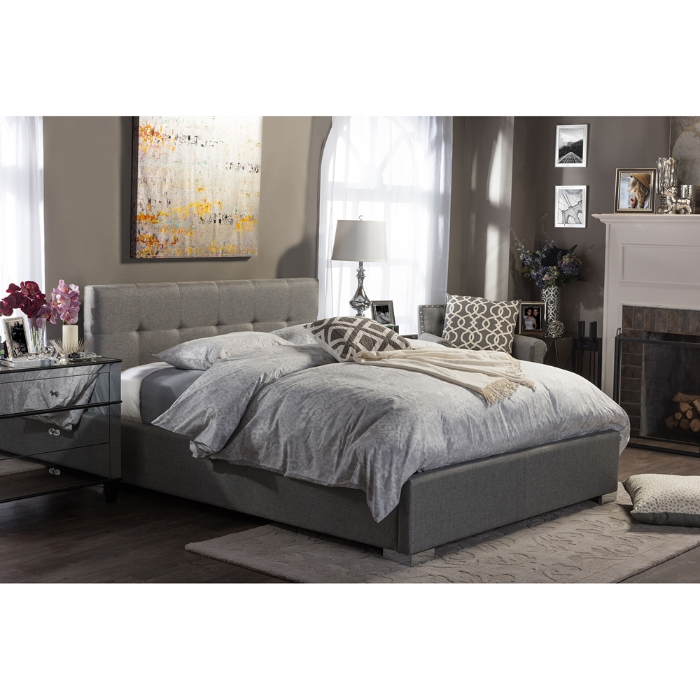 baxton studio regata modern and contemporary grey fabric upholstered king size platform bed. Black Bedroom Furniture Sets. Home Design Ideas