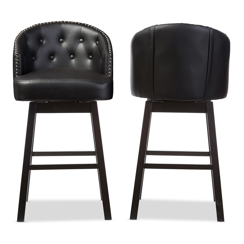 Magnificent Baxton Studio Avril Modern And Contemporary Black Faux Leather Tufted Swivel Barstool With Nail Heads Trim Pabps2019 Chair Design Images Pabps2019Com