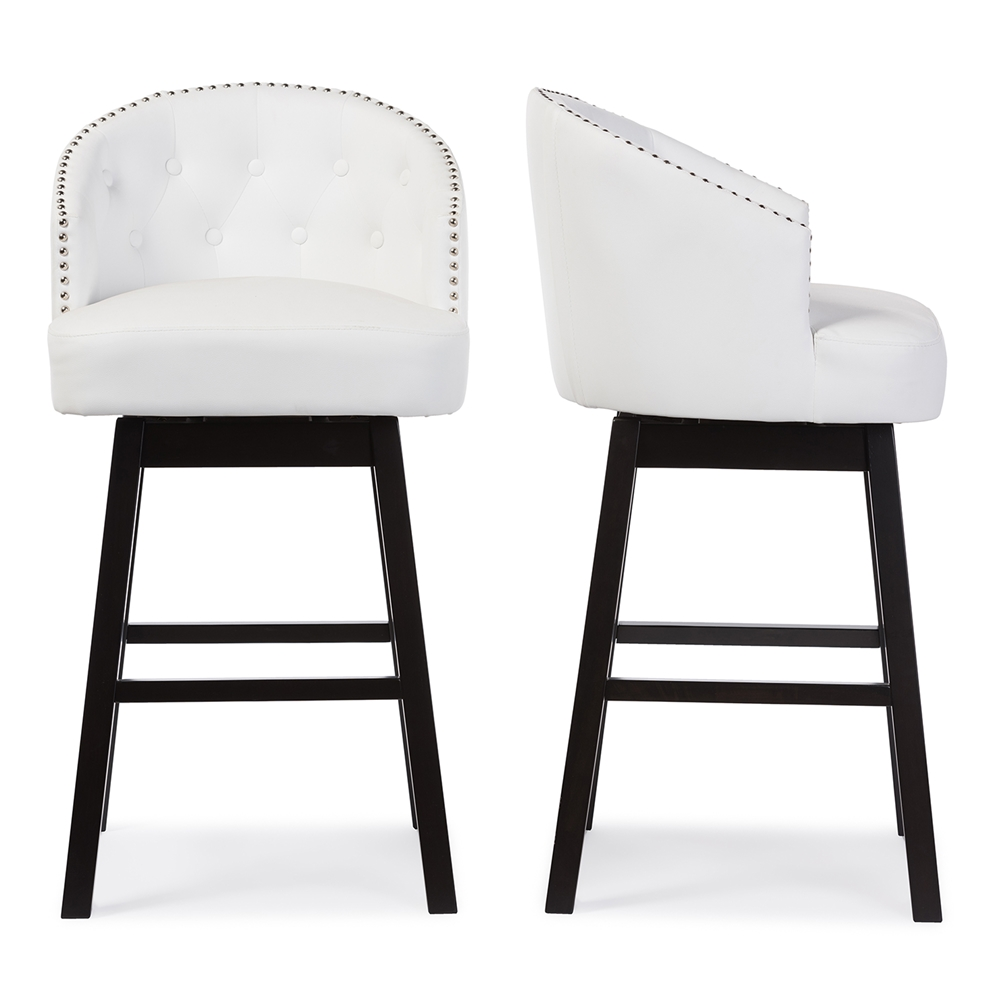 baxton studio avril modern and contemporary white faux leather tufted swivel barstool with nail heads trim - Modern Swivel Bar Stools