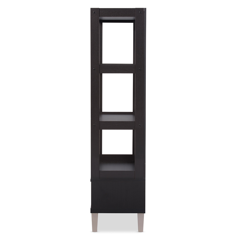 Baxton Studio Kalien Modern And Contemporary Dark Brown Wood Leaning Bookcase With Display Shelves Two