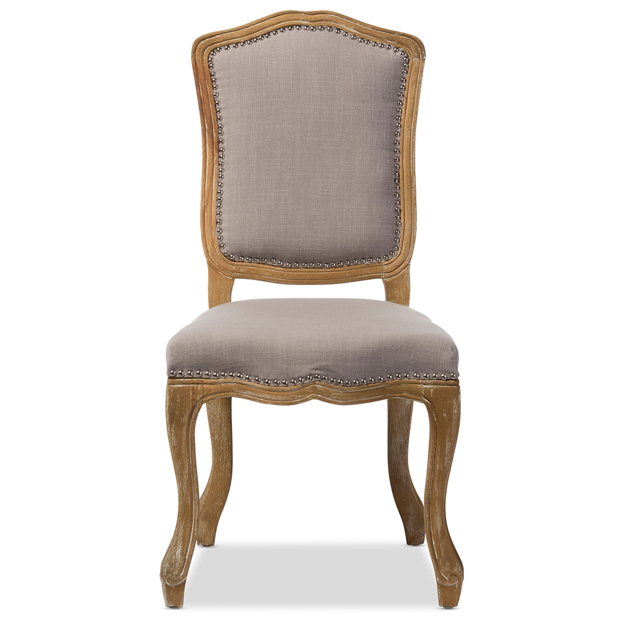 Baxton Studio Chateauneuf French Vintage Cottage Weathered Oak Beige Fabric  Upholstered Dining Side Chair   IETSF ...