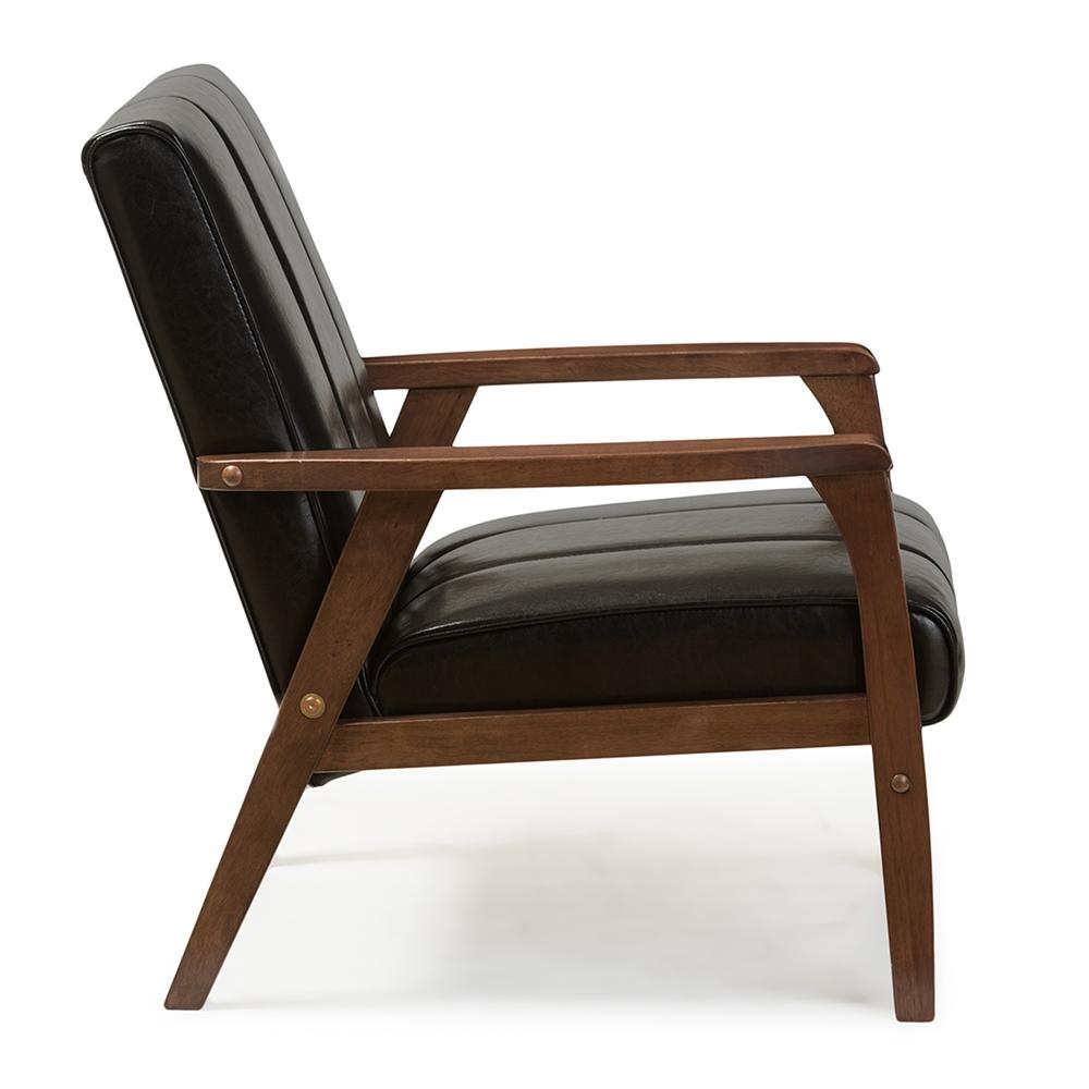 Prime Baxton Studio Nikko Mid Century Modern Scandinavian Style Black Faux Leather Wooden Lounge Chair Inzonedesignstudio Interior Chair Design Inzonedesignstudiocom