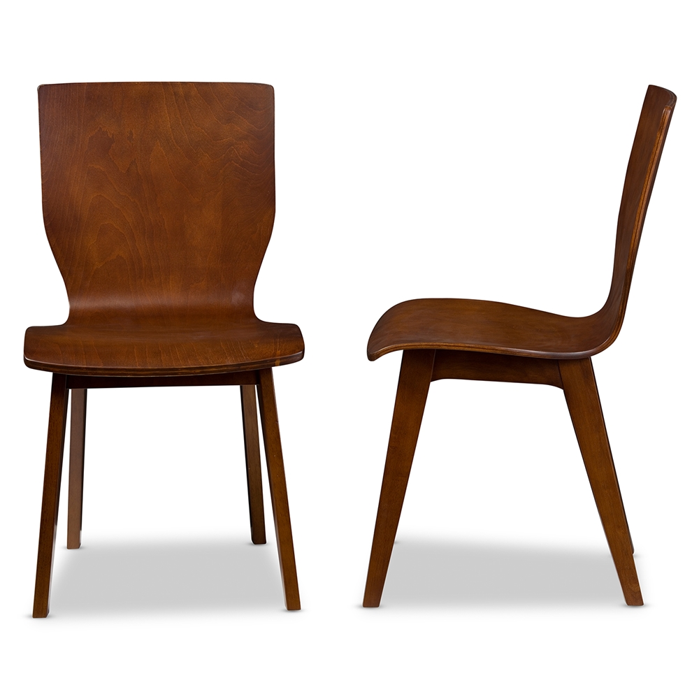 Baxton studio elsa mid century modern scandinavian style dark walnut bent wood dining chair