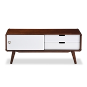 Baxton Studio Armani Mid-century Modern Dark Walnut and White Two-tone Finish 2-drawer with Sliding Door Wood TV Cabinet Baxton Studio restaurant furniture, hotel furniture, commercial furniture, wholesale living room furniture, wholesale entertainmnet centers, wholesale TV stands, classic TV stands, cheap TV stands