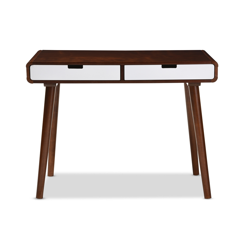 Baxton Studio Casarano Mid Century Modern Dark Walnut And White Two Tone Finish 2