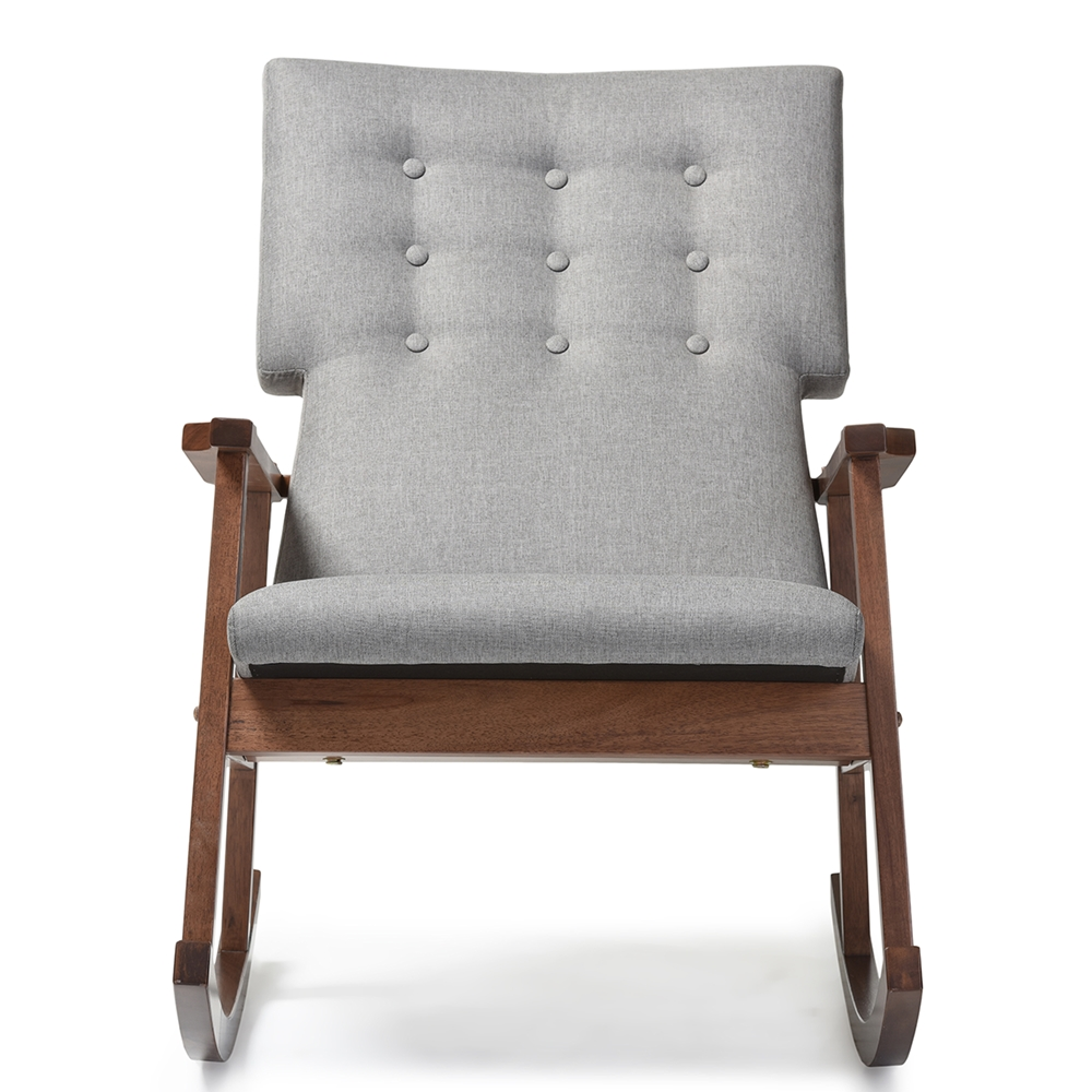 quality design 33c45 93827 Baxton Studio Agatha Mid-century Modern Grey Fabric Upholstered  Button-tufted Rocking Chair
