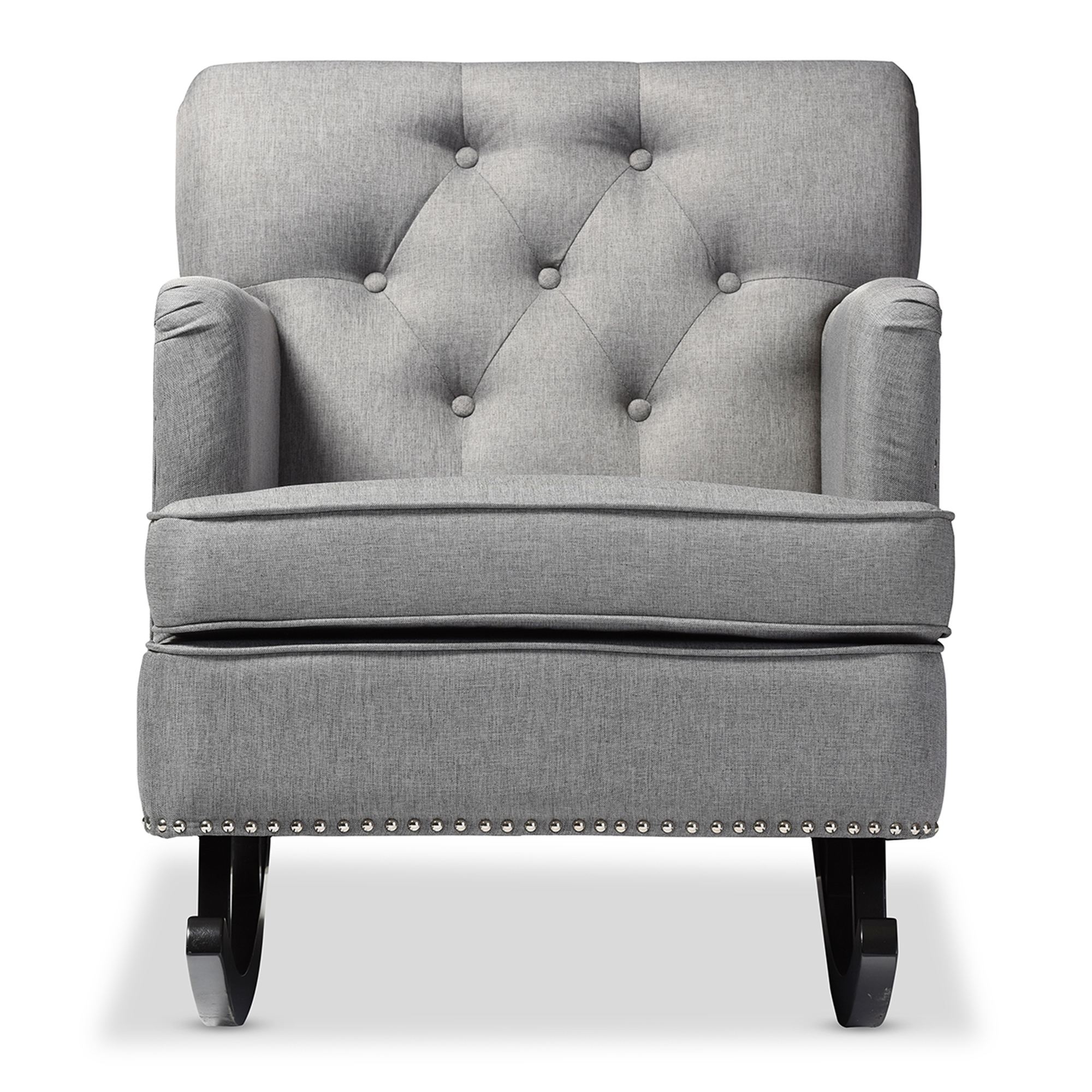 Baxton Studio Bethany Modern And Contemporary Grey Fabric Upholstered  Button Tufted Rocking Chair   IEBBT5189 ...