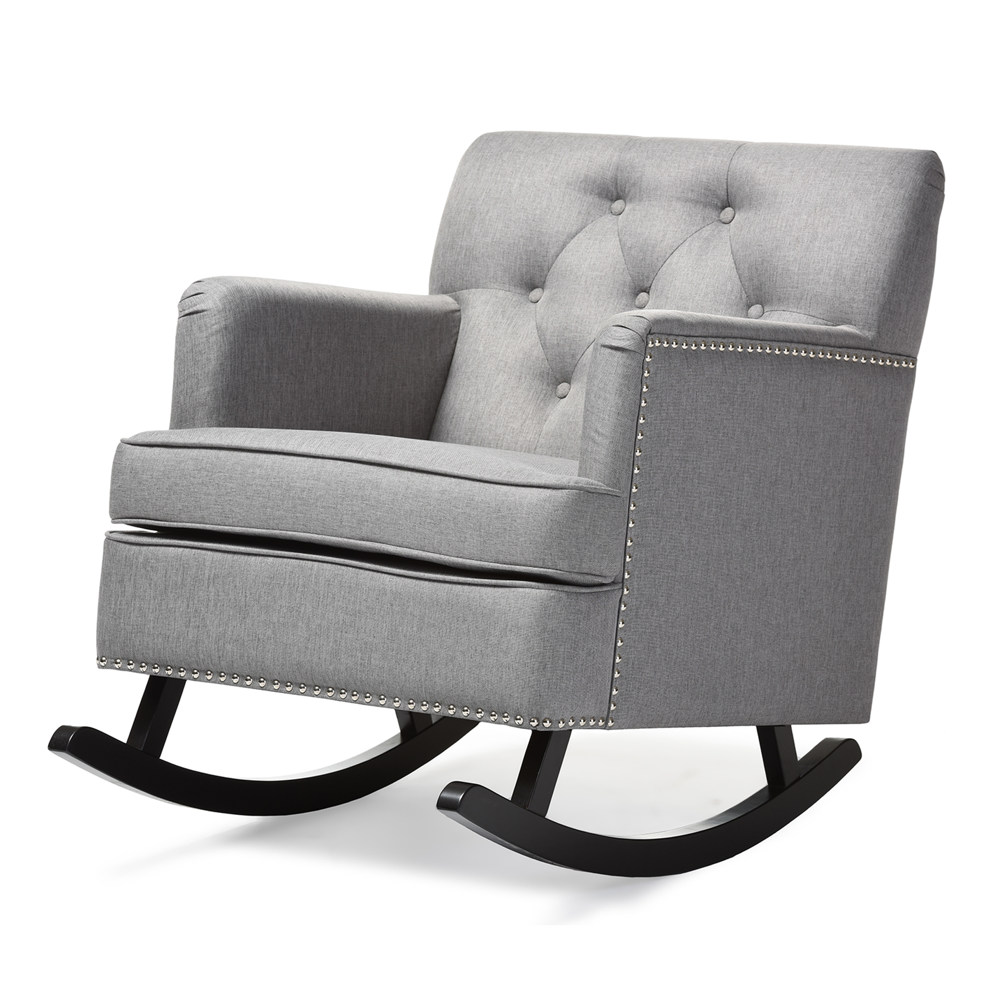... Baxton Studio Bethany Modern And Contemporary Grey Fabric Upholstered  Button Tufted Rocking Chair   IEBBT5189 ...