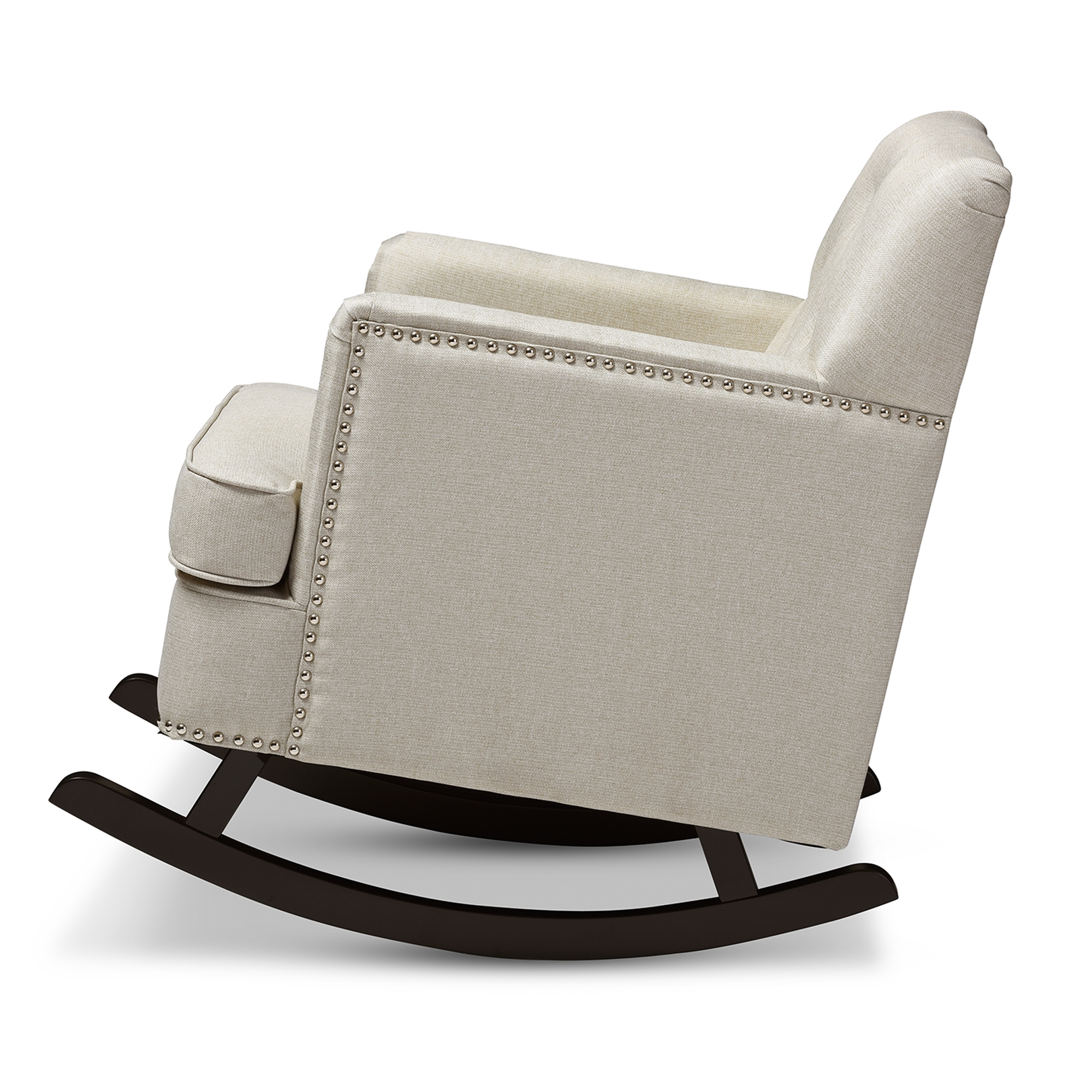 Captivating ... Baxton Studio Bethany Modern And Contemporary Light Beige Fabric  Upholstered Button Tufted Rocking Chair ...