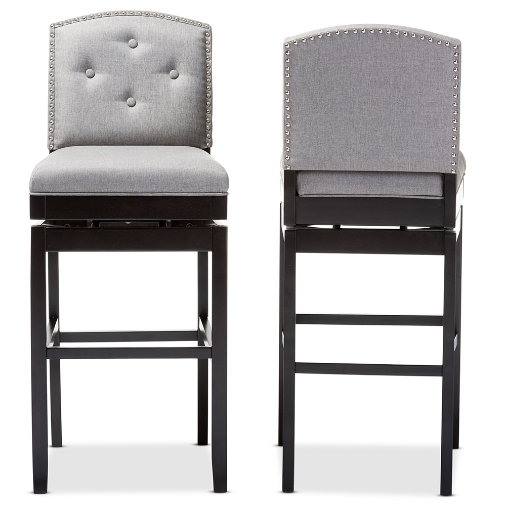 Astonishing Baxton Studio Ginaro Modern And Contemporary Grey Fabric Button Tufted Upholstered Swivel Bar Stool Set Of 2 Uwap Interior Chair Design Uwaporg