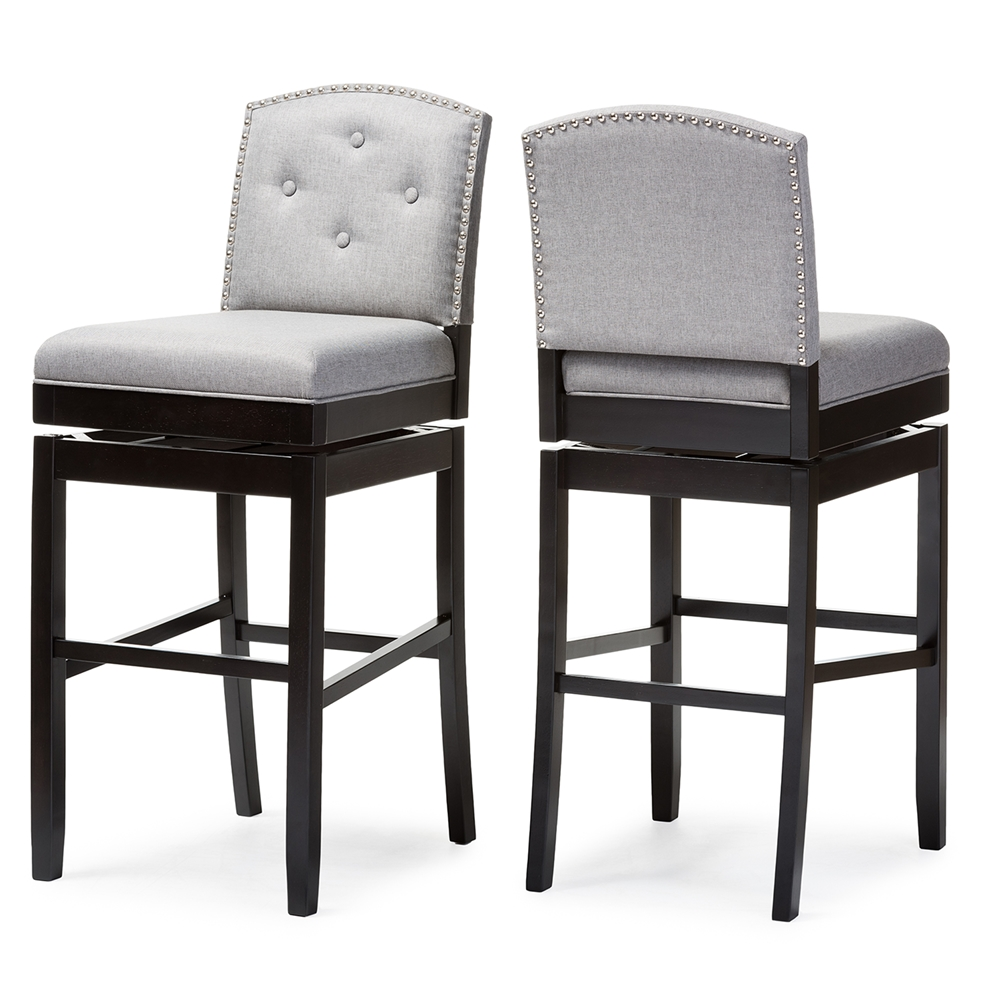 Baxton Studio Ginaro Modern And Contemporary Grey Fabric On Tufted Upholstered Swivel Bar Stool