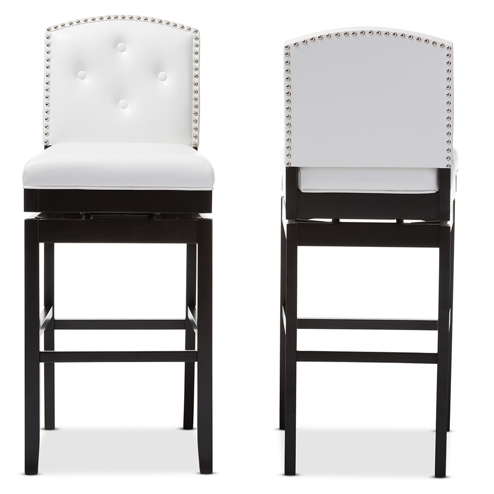 Baxton studio ginaro modern and contemporary white faux leather button tufted upholstered swivel bar stool