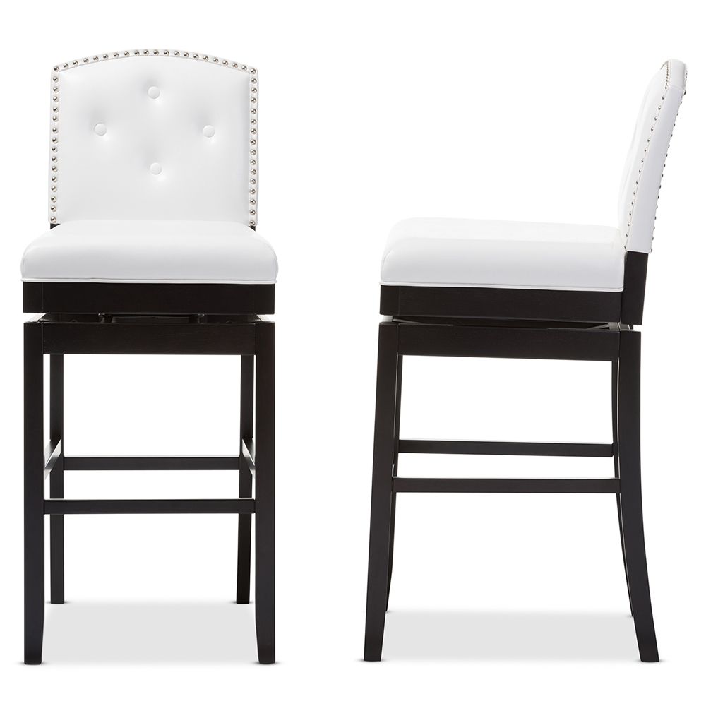 Astonishing Baxton Studio Ginaro Modern And Contemporary White Faux Leather Button Tufted Upholstered Swivel Bar Stool Uwap Interior Chair Design Uwaporg