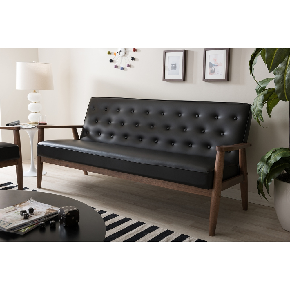 Modern black sofas -  Baxton Studio Sorrento Mid Century Retro Modern Black Faux Leather Upholstered Wooden 3 Seater
