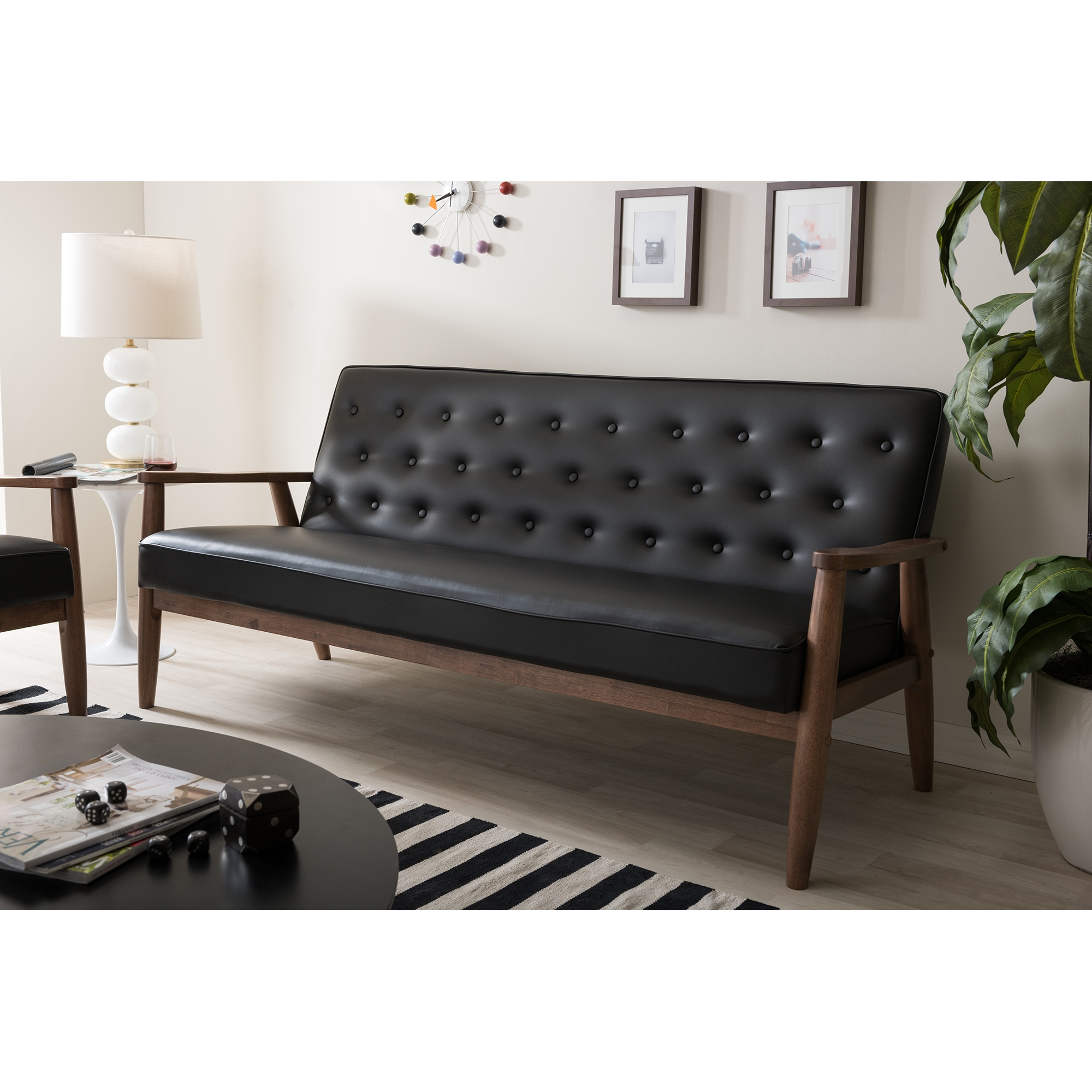 ... Baxton Studio Sorrento Mid Century Retro Modern Black Faux Leather  Upholstered Wooden 3 Seater