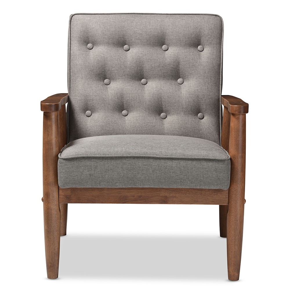 Astonishing Baxton Studio Sorrento Mid Century Retro Modern Grey Fabric Upholstered Wooden Lounge Chair Machost Co Dining Chair Design Ideas Machostcouk