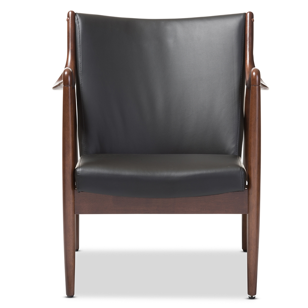Surprising Baxton Studio Shakespeare Mid Century Modern Retro Black Faux Leather Upholstered Leisure Accent Chair In Walnut Wood Frame Inzonedesignstudio Interior Chair Design Inzonedesignstudiocom