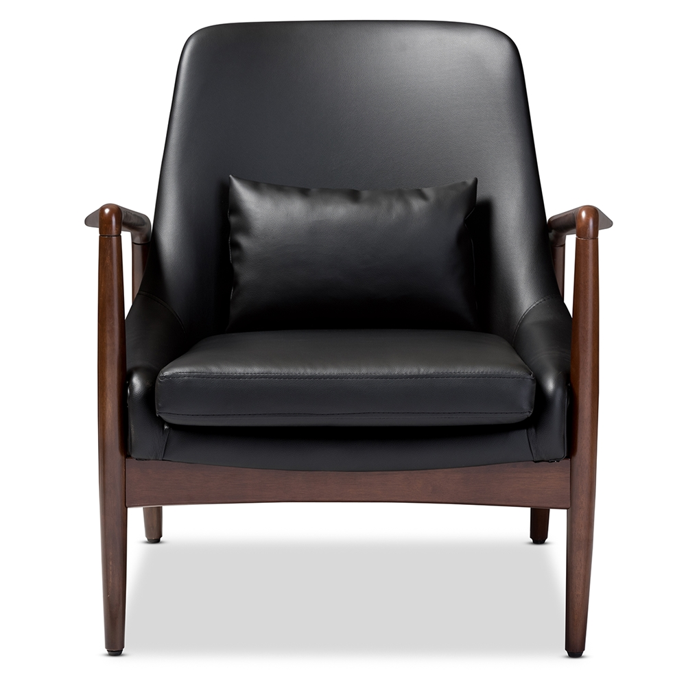 Baxton studio carter mid century modern retro black faux leather upholstered leisure accent chair in