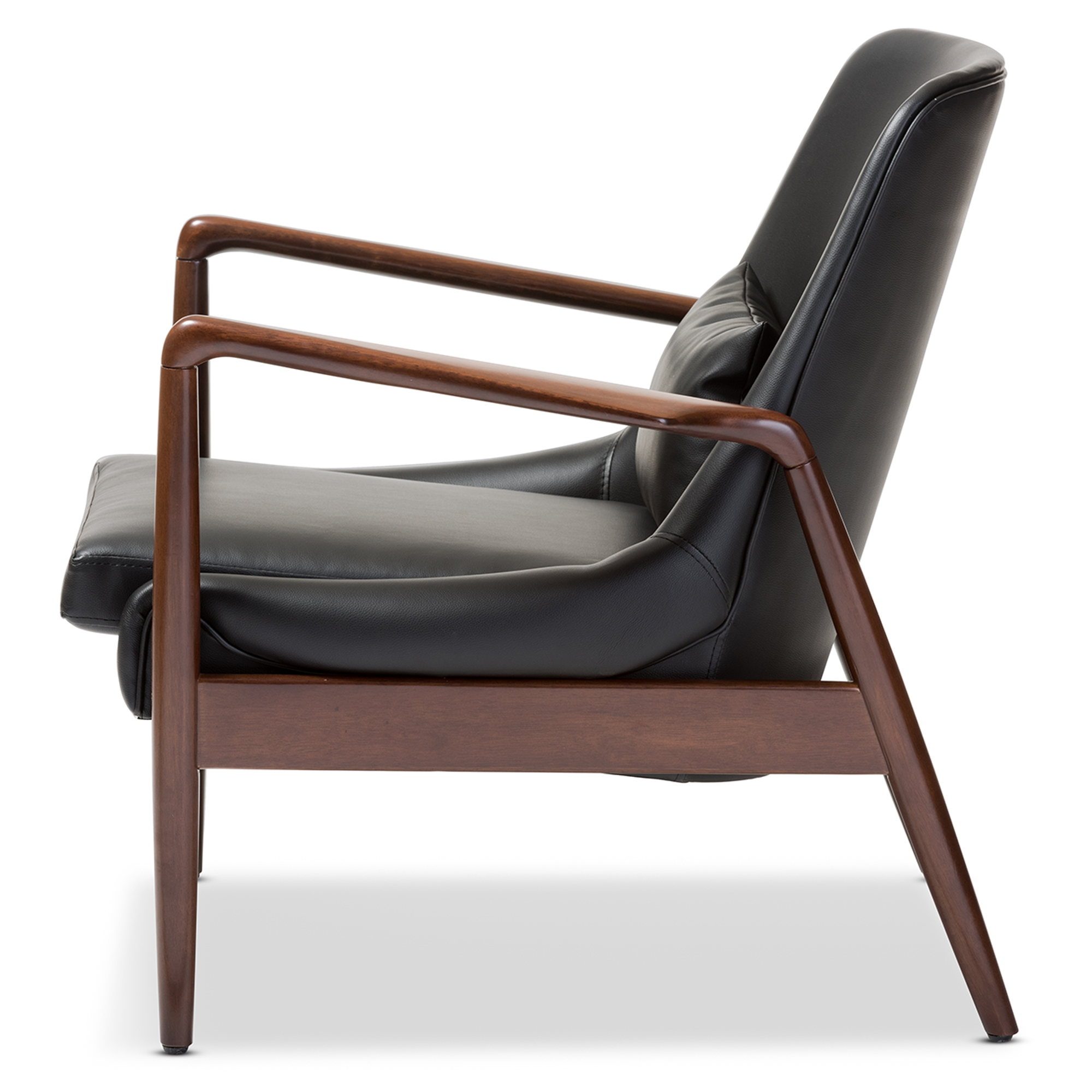 Beautiful ... Baxton Studio Carter Mid Century Modern Retro Black Faux Leather  Upholstered Leisure Accent Chair In ...