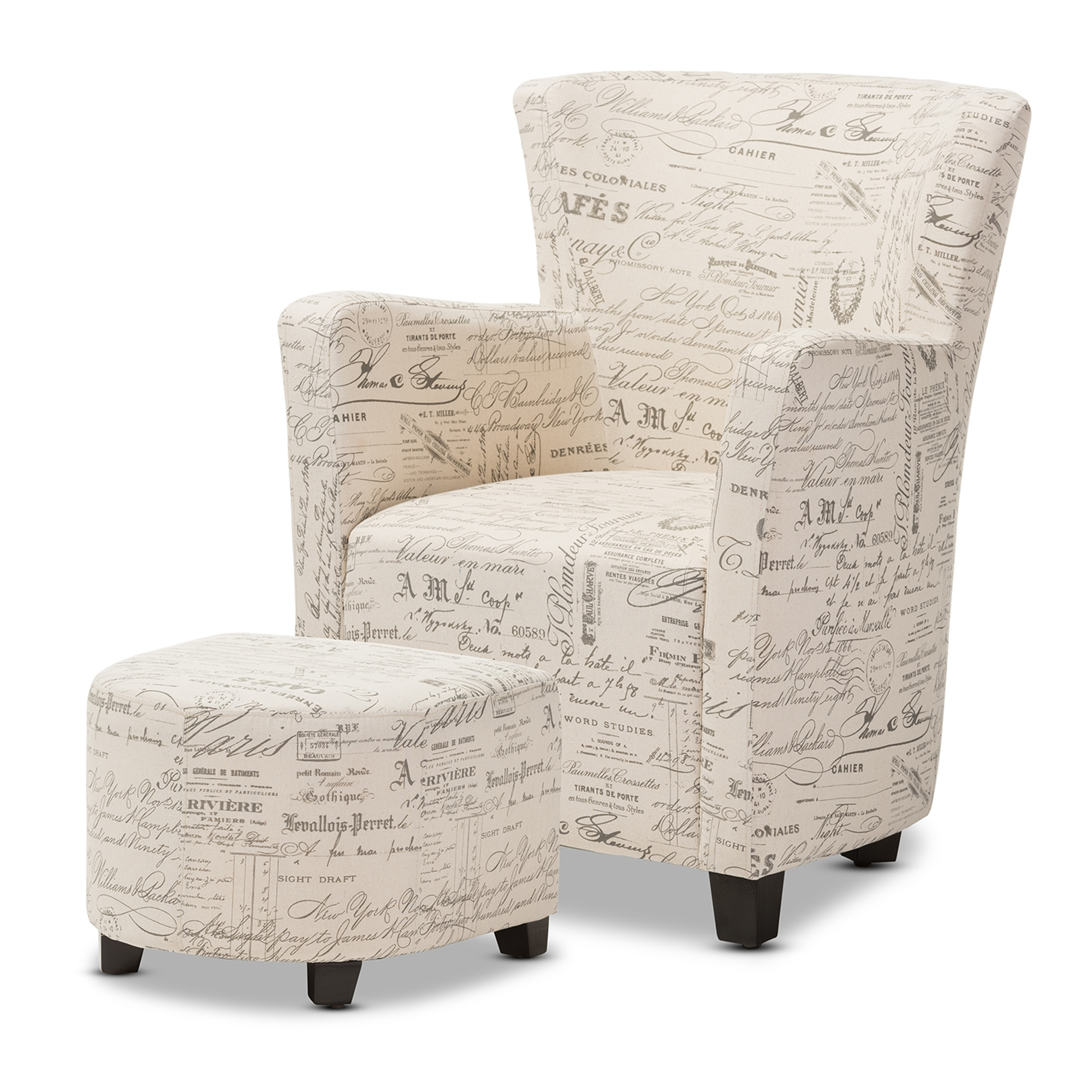 Baxton Studio Benson French Script Patterned Fabric Club Chair And Ottoman  Set   IEWS 0710 ...