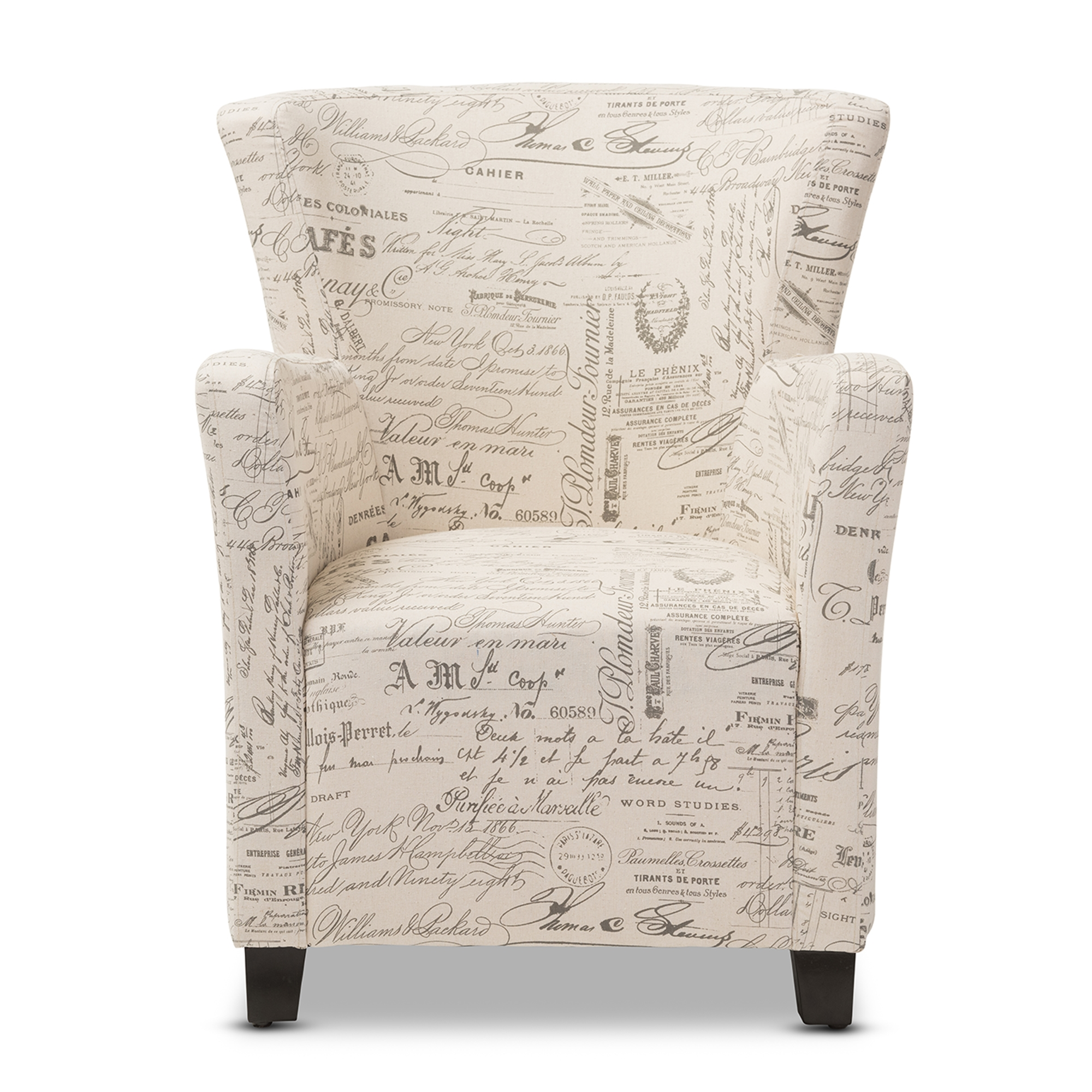 ... Baxton Studio Benson French Script Patterned Fabric Club Chair And  Ottoman Set   IEWS 0710 ...