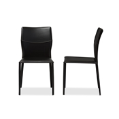Baxton Studio Asper Modern and Contemporary Black Leather Upholstered Dining Chair Baxton Studio restaurant furniture, hotel furniture, commercial furniture, wholesale dining room furniture, wholesale dining chairs, classic dining chairs