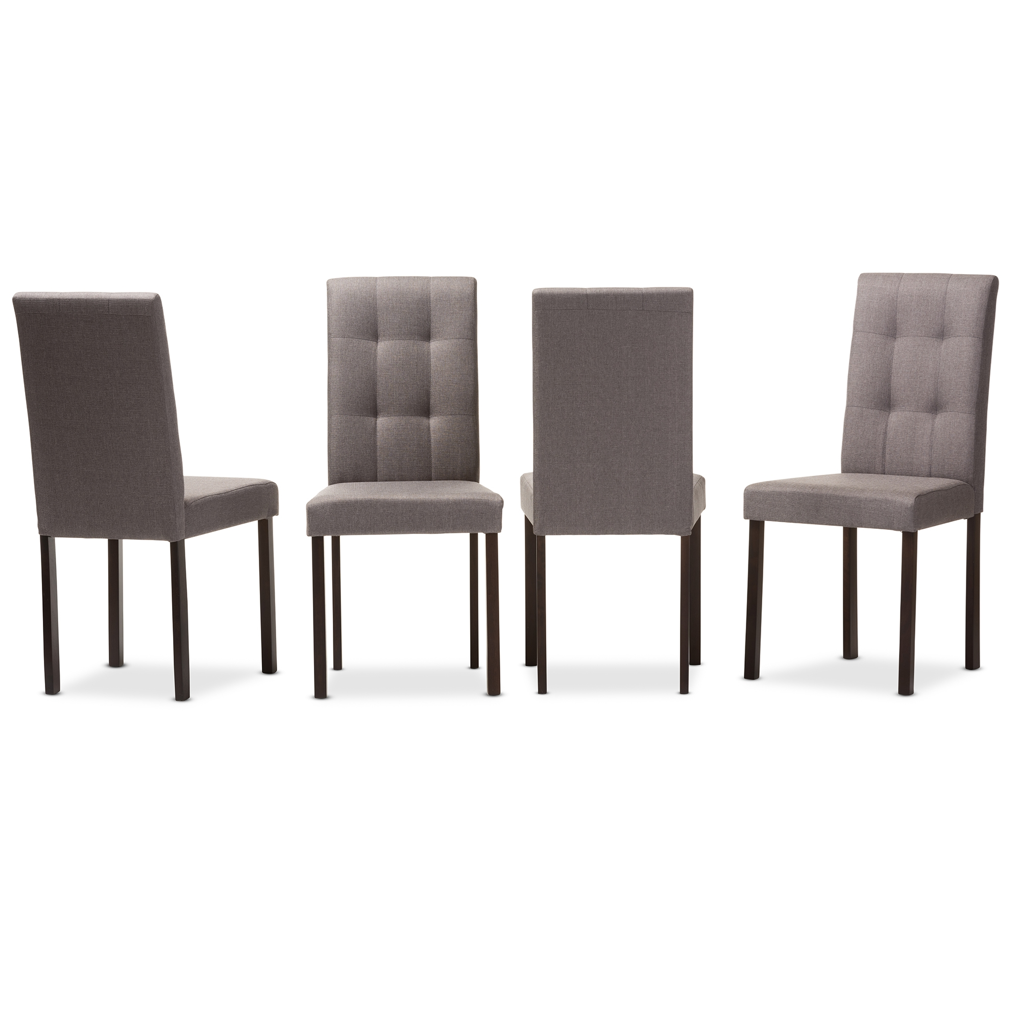 Baxton Studio Andrew Modern And Contemporary Grey Fabric Upholstered  Grid Tufting Dining Chair   IEAndrew ...