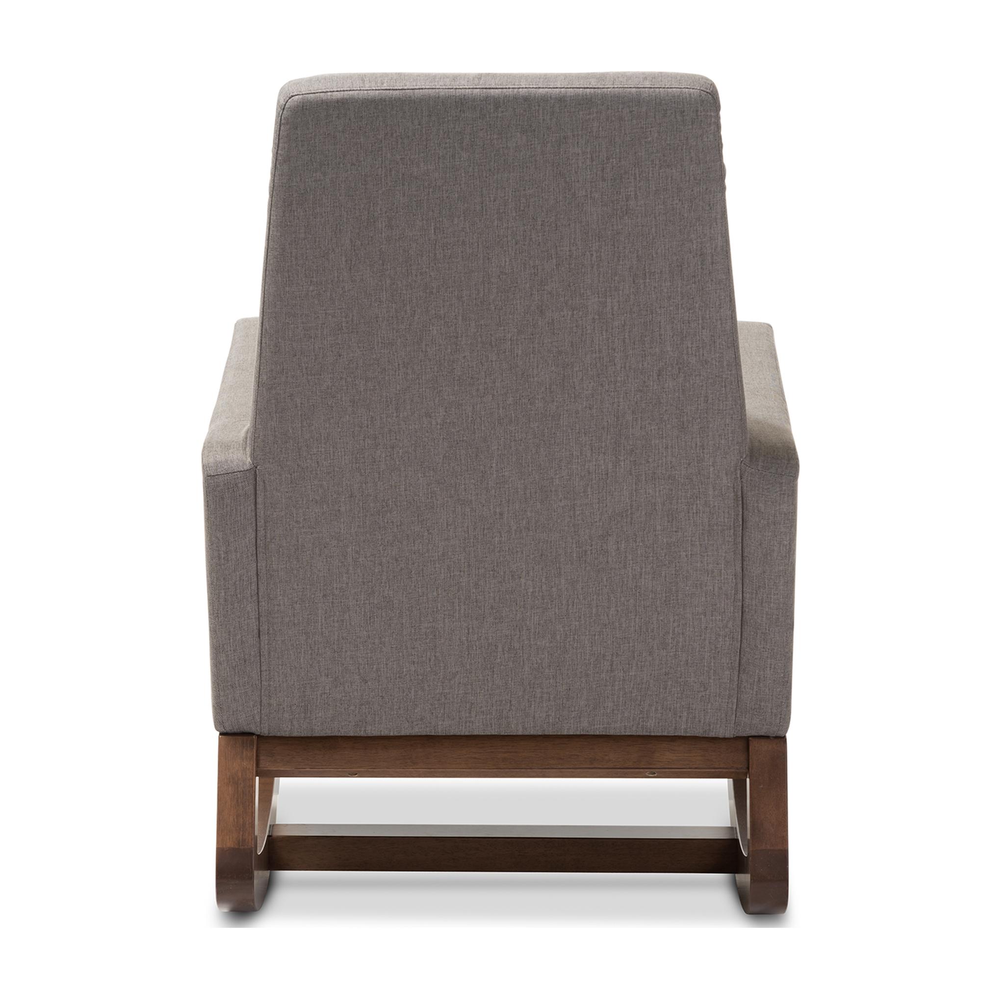 ... Baxton Studio Yashiya Mid Century Retro Modern Grey Fabric Upholstered  Rocking Chair   IEBBT5199  ...