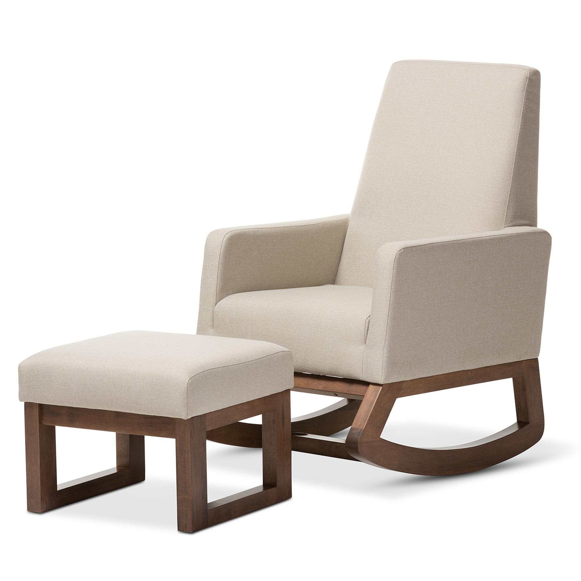 Charmant Baxton Studio Yashiya Mid Century Retro Modern Light Beige Fabric  Upholstered Rocking Chair And Ottoman ...
