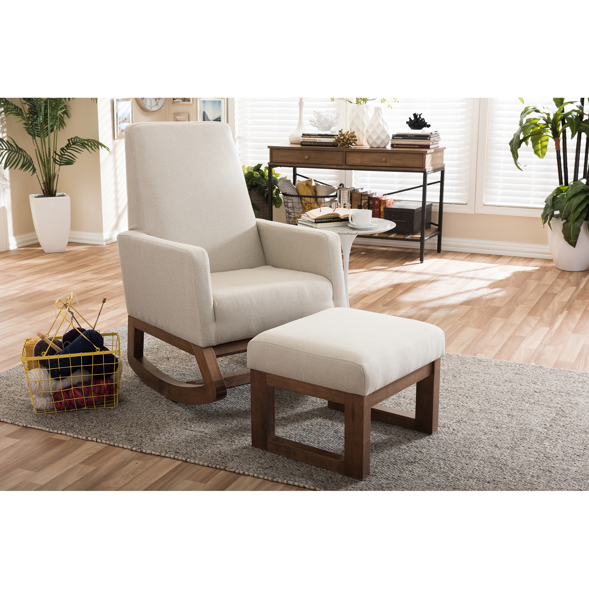 baxton studio yashiya midcentury retro modern light beige fabric upholstered rocking chair and ottoman