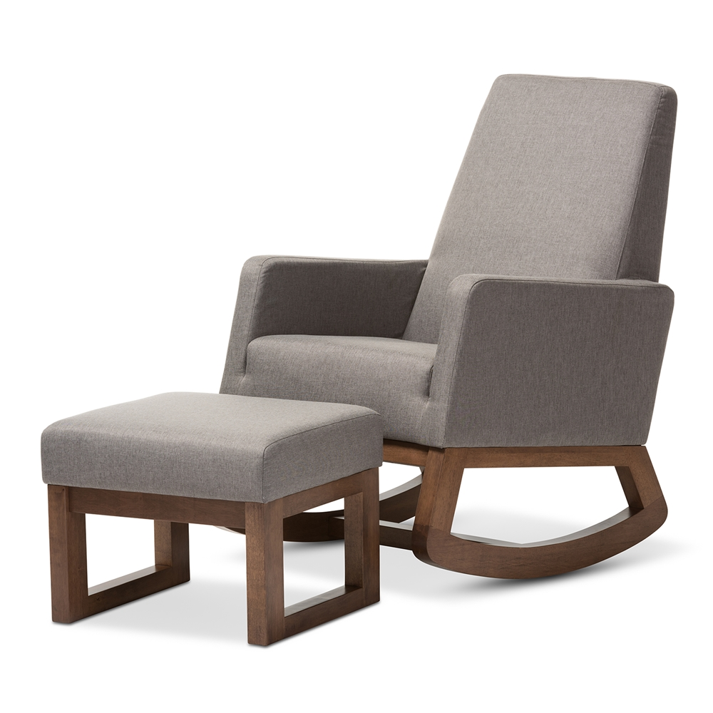 baxton studio yashiya mid century retro modern grey fabric upholstered rocking chair and ottoman. Black Bedroom Furniture Sets. Home Design Ideas